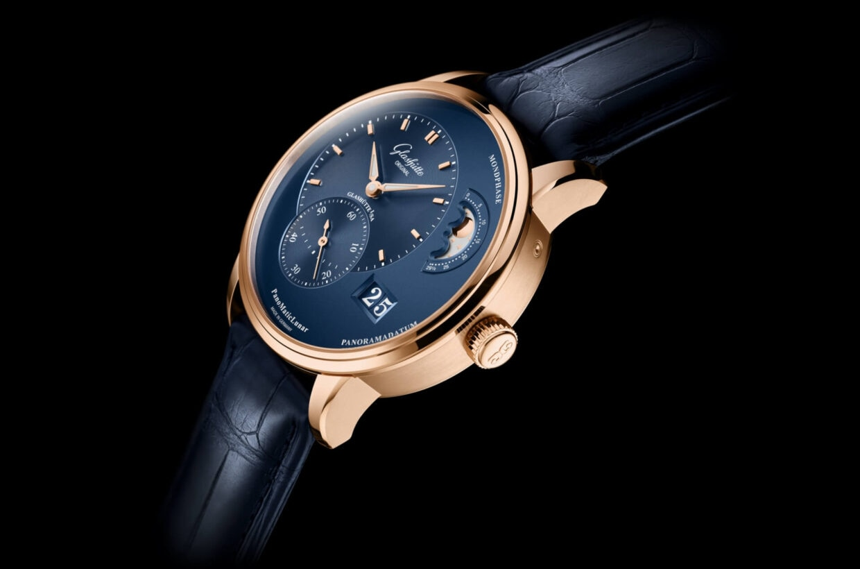 Golden Ratio The signature feature of the Pano Collection is the asymmetric dial layout, which is based on the golden ratio. The axes of all hands are aligned vertically in the left half of the dial, while the Panorama Date and splendid moon phase display define the right half.