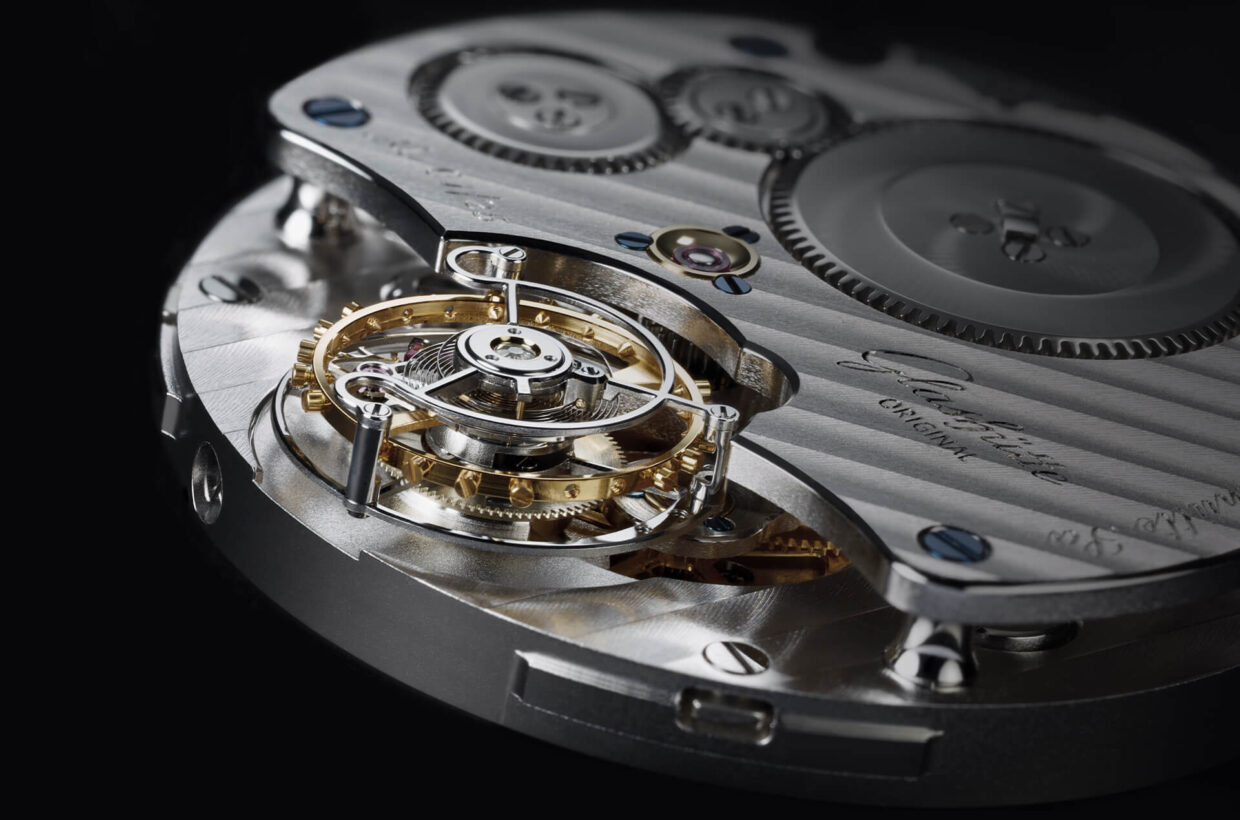 "Tradition-rich whirlwind As fascinating as it is to see a tourbillon carriage rotate, its true purpose was to improve accuracy. The ""whirlwind"" opposes the force of gravity continuously; the entire oscillation and escapement system rotates on its own axis within the space of a minute."