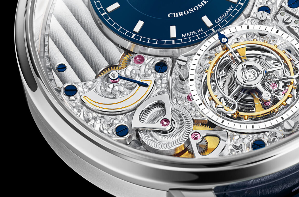 Unusual design Combination of different finishes and levels, dial and Flying Tourbillon rise like small towers over the upper and lower halves of the movement, open construction method offers fascinating insights, first-class finishing by hand