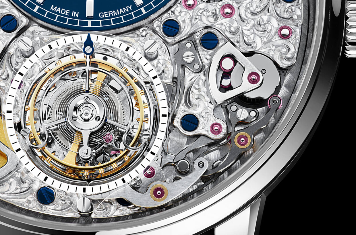 Limited world premiere Flying Tourbillon fitted for the first time with a combination of second stop mechanism, zero reset and minute detent to enable precise setting of the time, seconds hand on tourbillon cage, platinum case, limited to 25 pieces