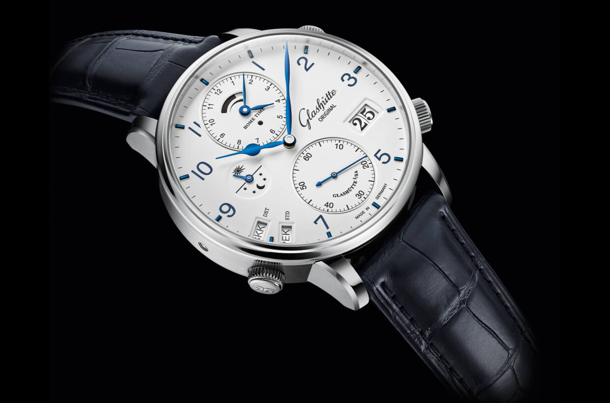 Functionality and elegance Executed in the characteristic clear style of Glashütte Original, the design of this timepiece combines functionality and elegance. The clear layout of the individual displays makes checking the time a pleasure.