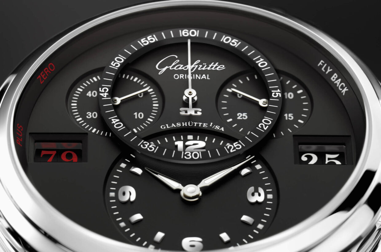 Black dial Galvanic black dial, 3D-effect due to second dial level for the stop seconds, vinyl pattern on off-centre displays, rhodium-plated appliques and numerals, displays printed in white or red