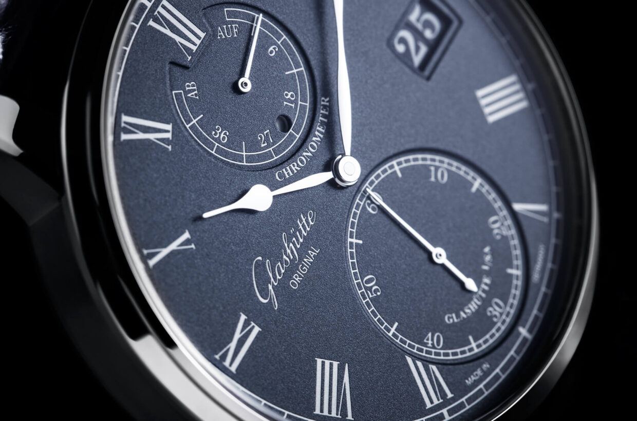 Blue Dial Dial with blue-grained lacquer, laser-engraved galvanic silver displays, hands in white gold with polished surfaces, running time display and small seconds on sunken dial level