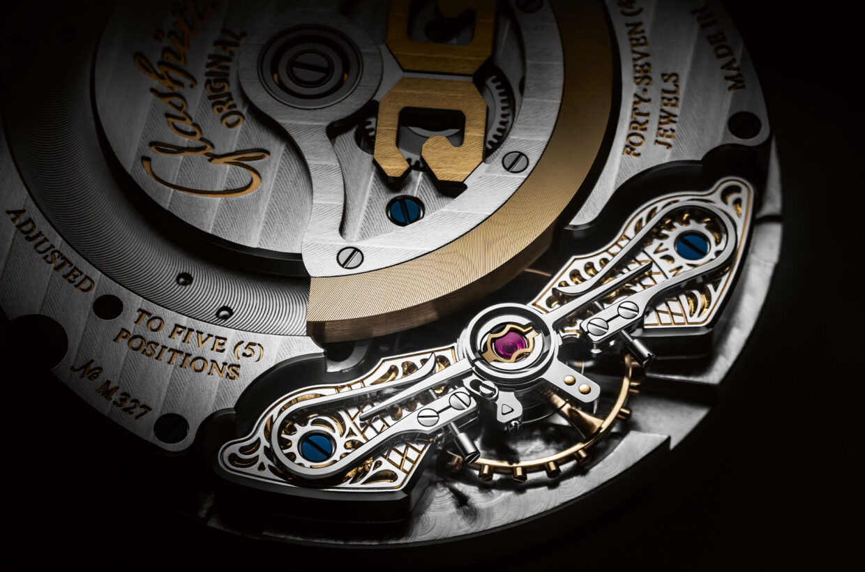 Exquisitely finished components The sapphire crystal case back offers a clear view of the exquisitely finished automatic movement Calibre 90-02 with its off-centre rotor and Glashütte Original's signature duplex swan-neck fine adjustment.