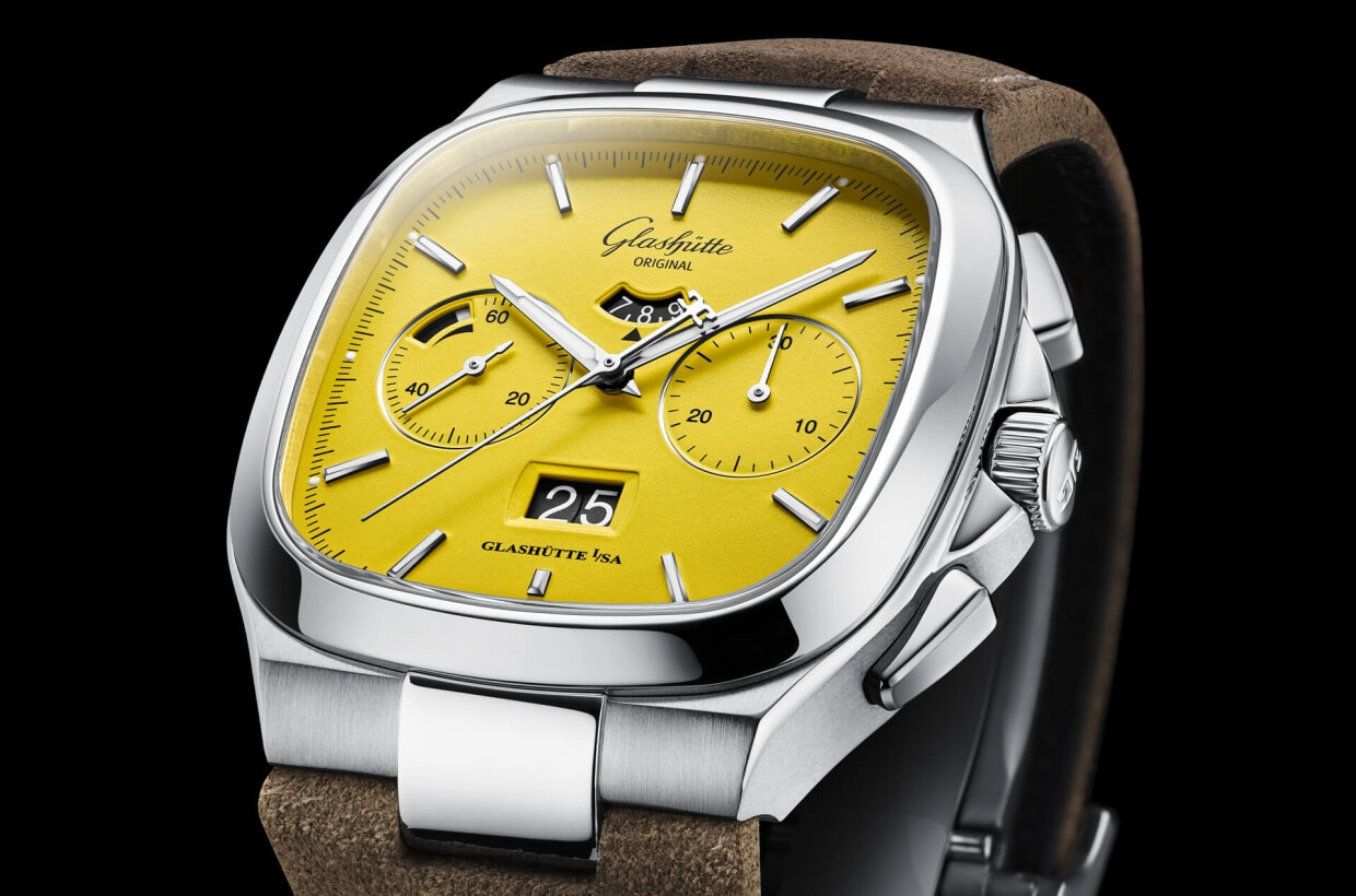 Sunny yellow The dial was manufactured in-house and is coated entirely with yellow varnish. Super-LumiNova highlights on the hour and minute hands and on the appliques ensure optimal legibility in the dark as well.